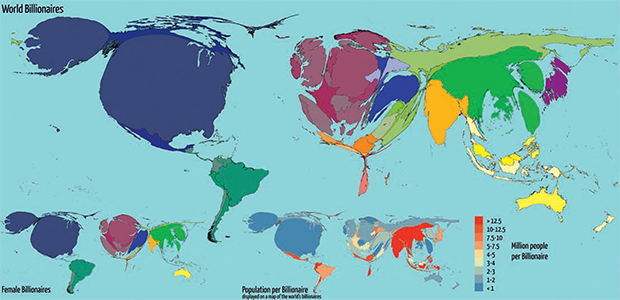 Map of the World's Billionaire's