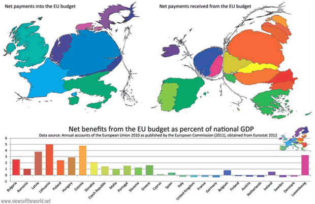 Maps and bar chart of net benefits/payments in the budget of the European Union - Financial framework 2007-2013