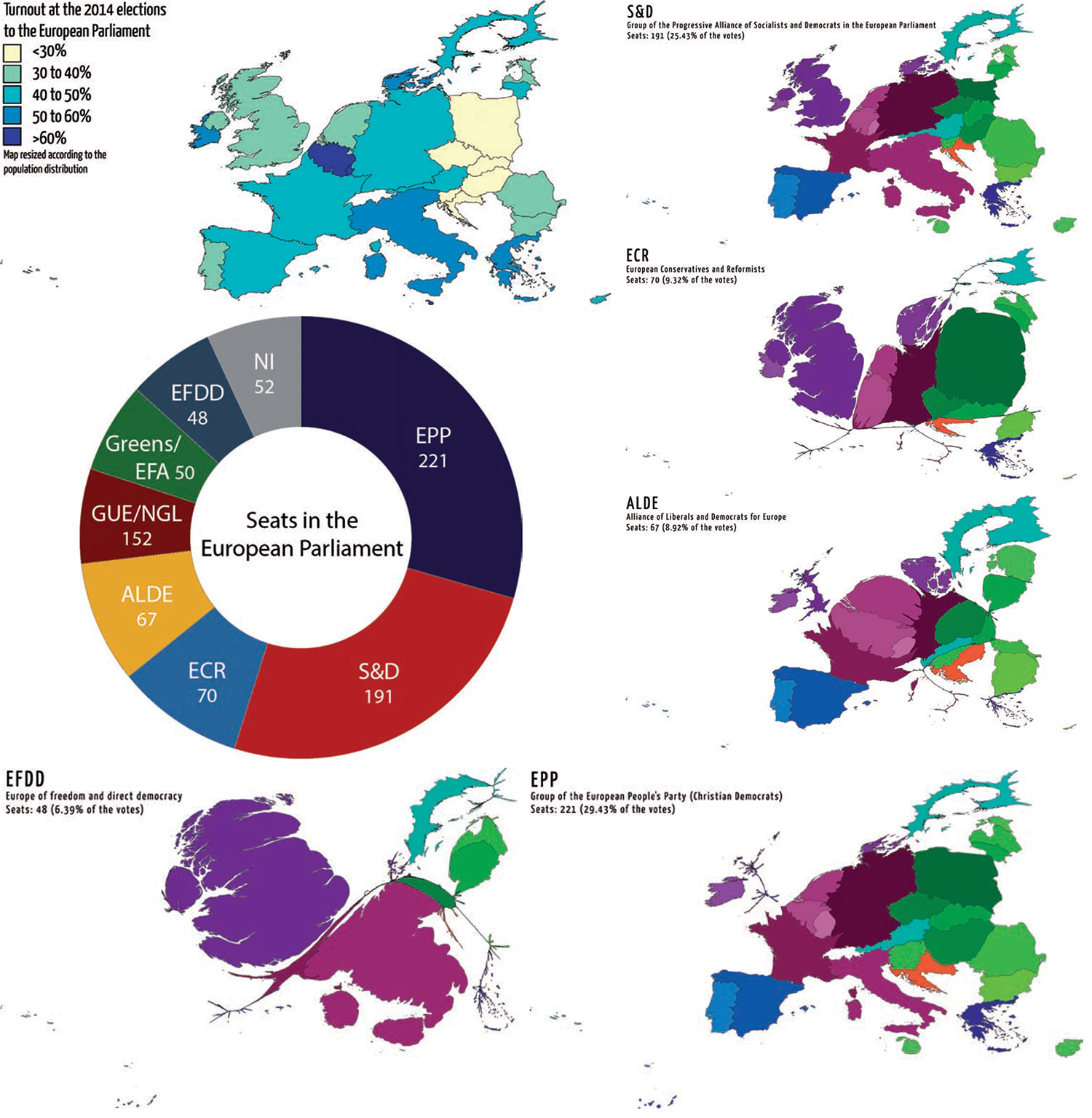 Maps and visualisations of the 2014 elections to the European Parliament