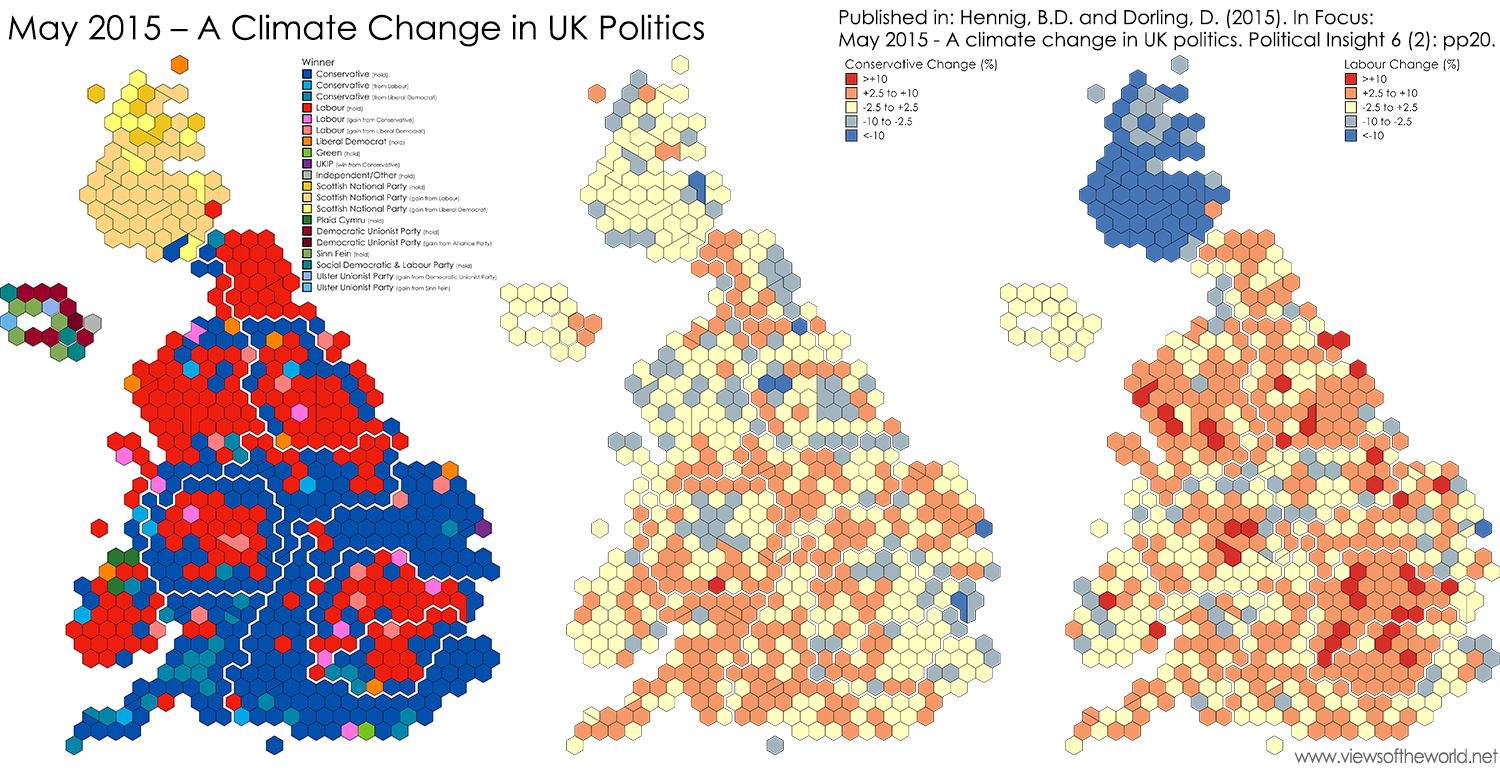 Hexagon maps of the outcome of the 2015 UK General Election and the changes in votes of the Conservative and Labour Party