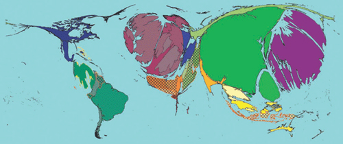 Map of the world with countries resized according to the total amount of US treasury securities that are held in each country, July 2011