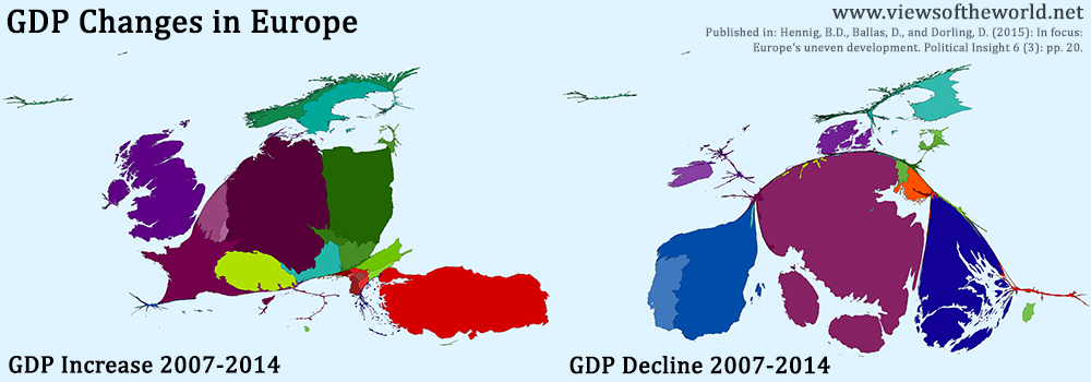 GDP Increase and Decline 2007–2014