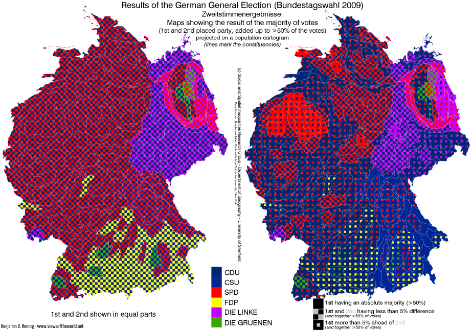 Bundestagswahl: 1st2nd Cartogram compared with constituencies