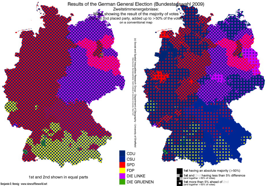 Bundestagswahl 2009: Zweitstimmenanalysekarte (1st and 2nd)