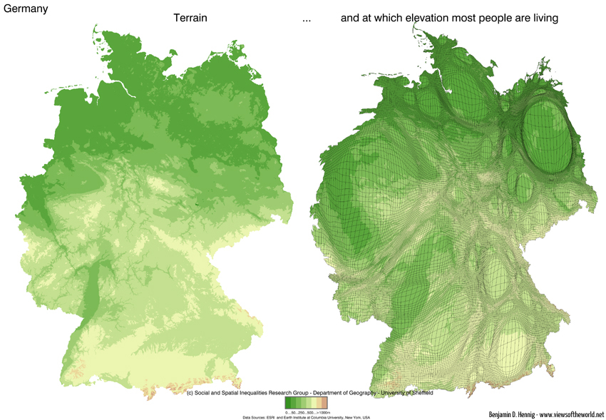 Elevation maps of Germany