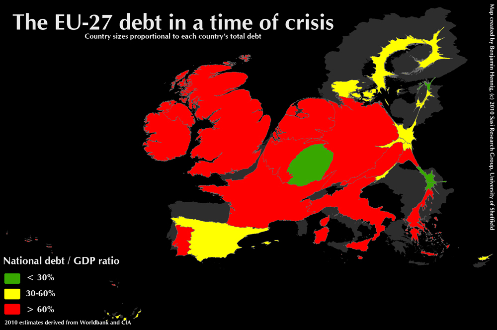 Map of debt and the debt/gdp ratio in the countries of the European Union 2010