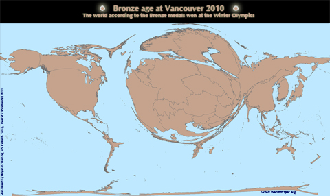 Worldmap of Bronze Medals won at the Vancouver Winter Olypmics 2010