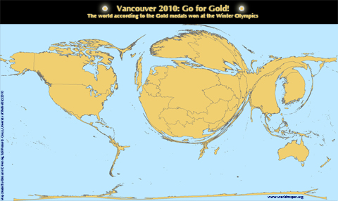 Worldmap of Gold Medals won at the Vancouver Winter Olypmics 2010
