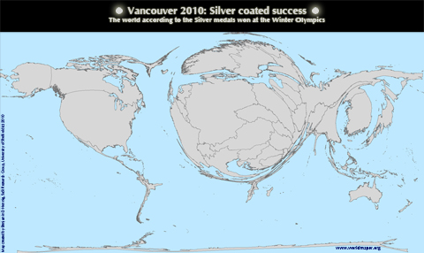 Worldmap of Silver Medals won at the Vancouver Winter Olypmics 2010