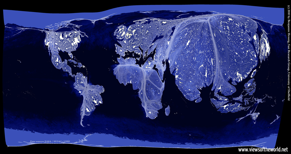 The Earth at Night projected on a gridded population cartogram