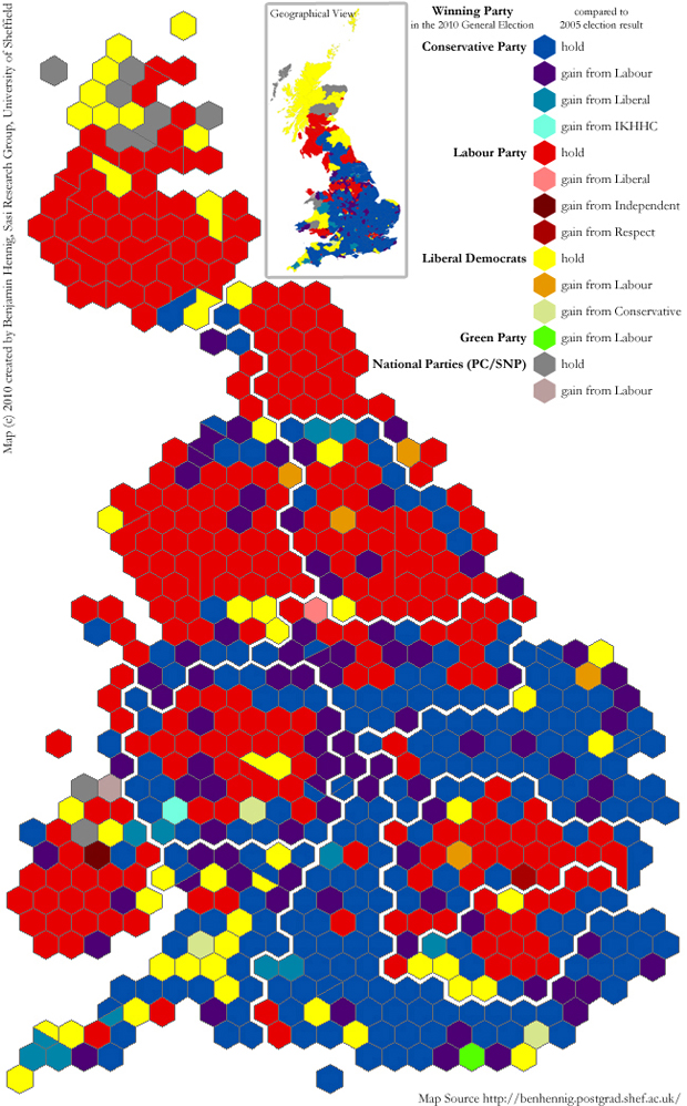 General Election 2010: Hexagon map of the results and changes in seats