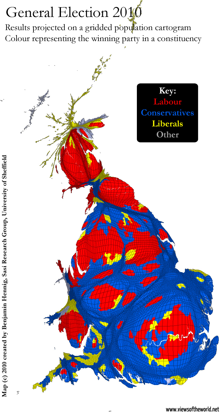 Winners of the British General Election 2010 mapped on a gridded population cartogram