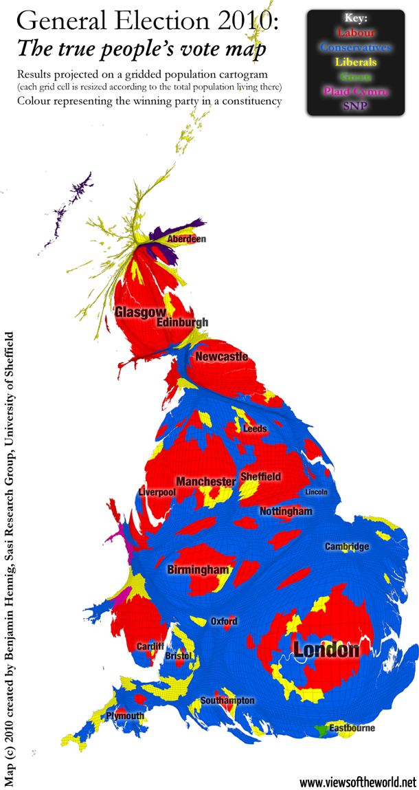 A true map of the British General Election results 2010: The people's vote