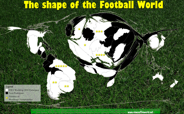 A map of all football worldcup participants 1930-2010