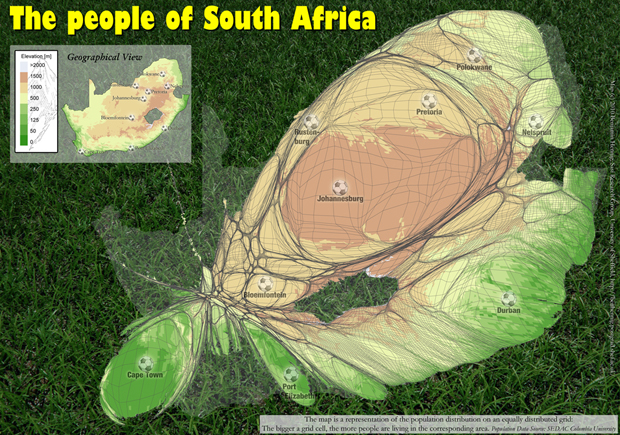 A map of the population distribution and elevation in South Africa, including all 2010 Worldcup host cities