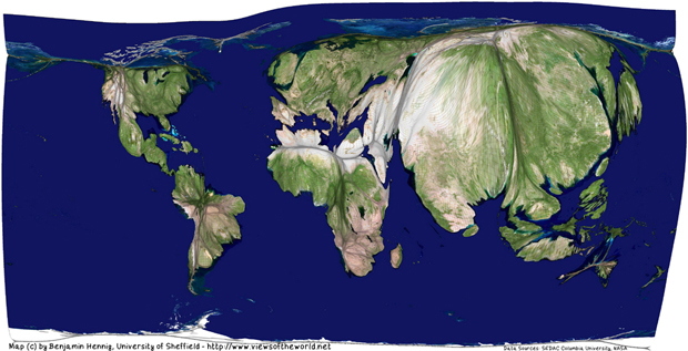 Composite satellite image projected on a gridded world population cartogram