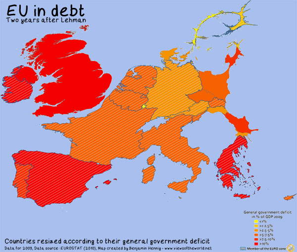 Europe in debt: map of government deficit