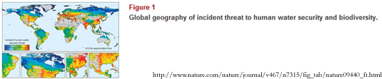 Global geography of incident threat to human water security and biodiversity / Source: Nature