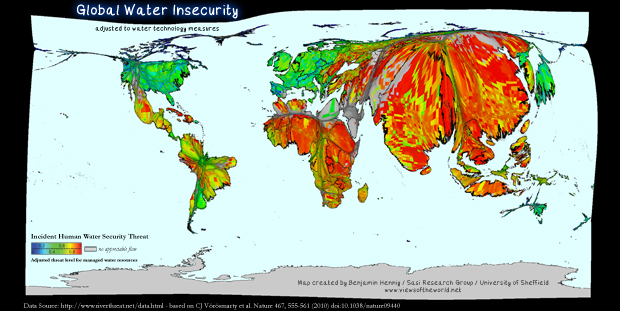 Map of Global Water Insecurity adjusted to water technology measures