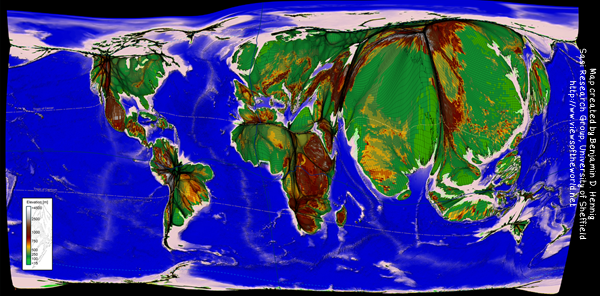 World Population Cartogram with a topographic map view