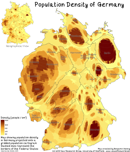 German Population Density Mapped onto a Population Cartogram / Bevölkerungsdichte in Deutschland