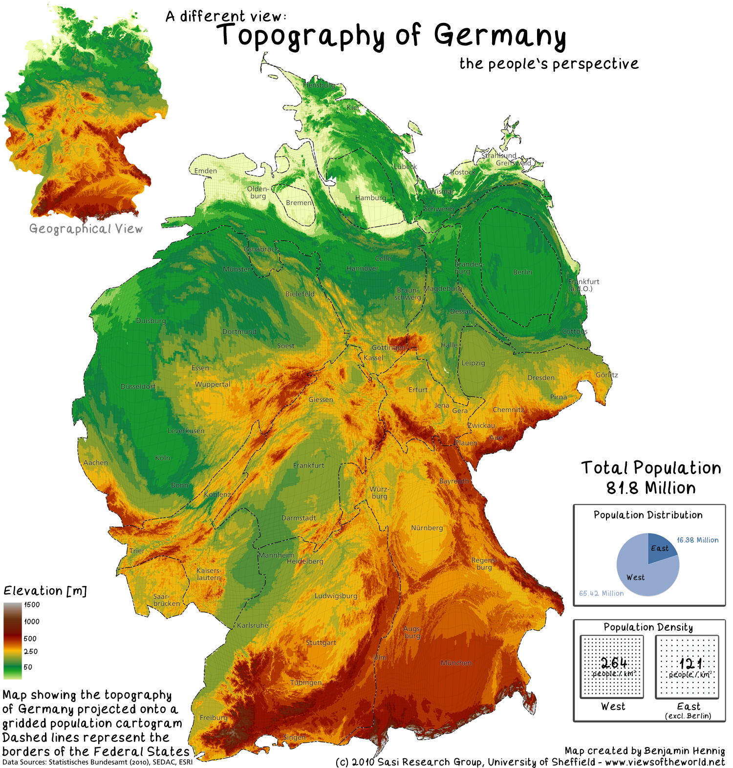 Elevation Map Of Germany.The Population Of Germany Views Of The World