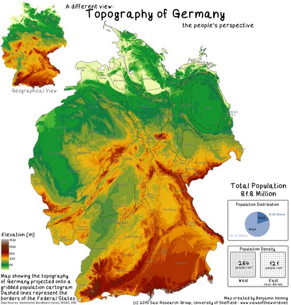 German Topography Mapped onto a Population Cartogram / Topographische Bevölkerungskarte von Deutschland