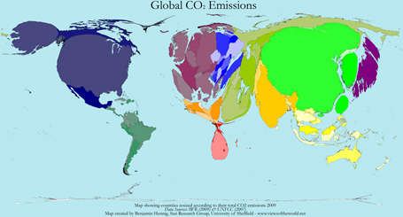Cartogram / Map of Carbon Dioxide (CO2) Emissions in 2009