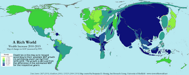 Map of global GDP growth 2010-2015