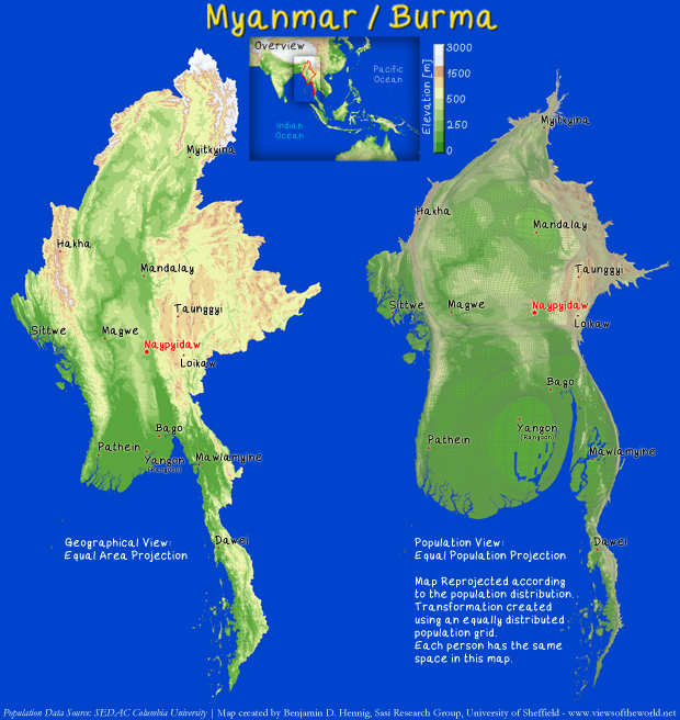 Topography Map and Population Cartogram of Burma/Myanmar