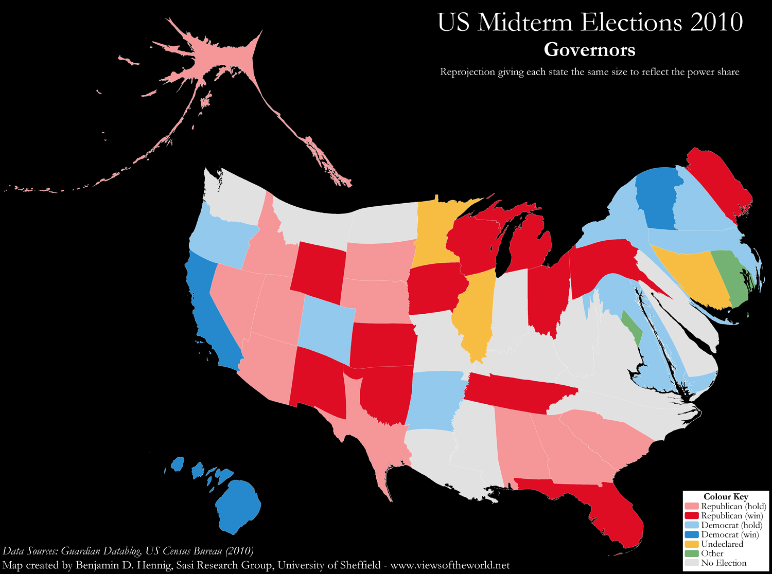 Map Of Us Senators.Us Election 2010 Mapping Senators And Governors Views Of The World