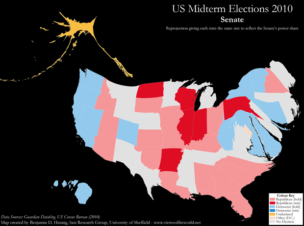 Map of the 2010 US midterm election results: Senate cartogram