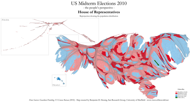 Cartogram of the 2010 US midterm election results for the House of Representatives