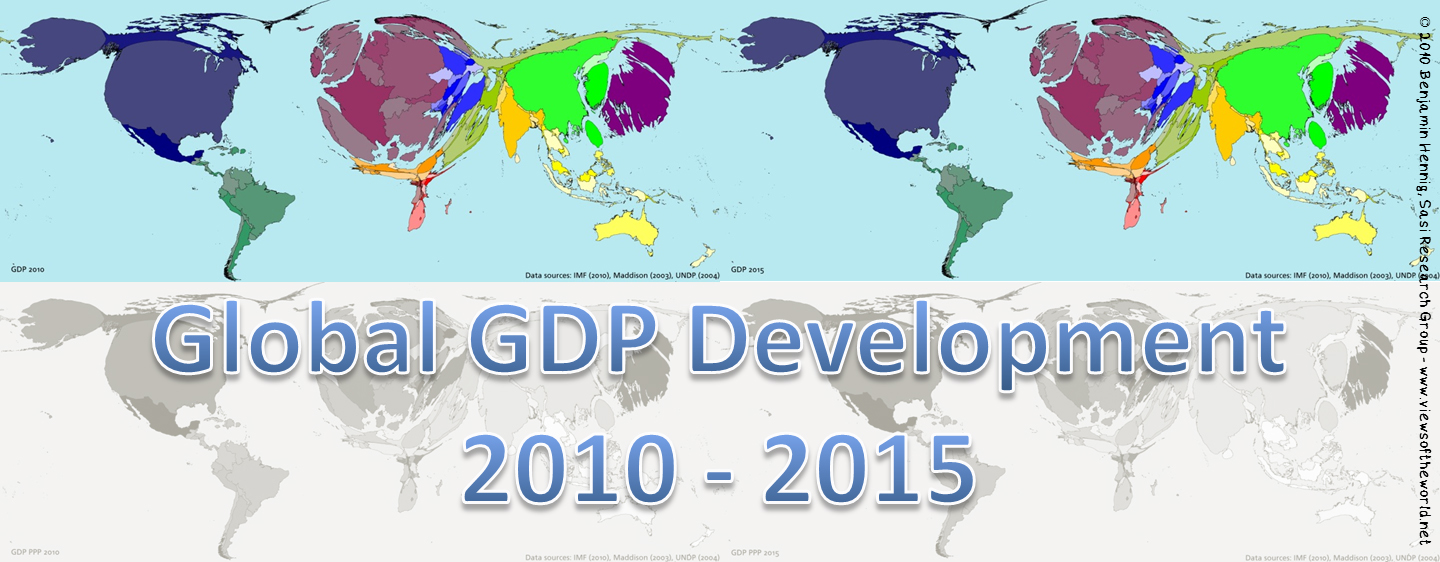 Preview: World maps of global GDP figures 2010/2015