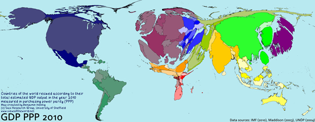 Map of global GDP 2010 in PPP