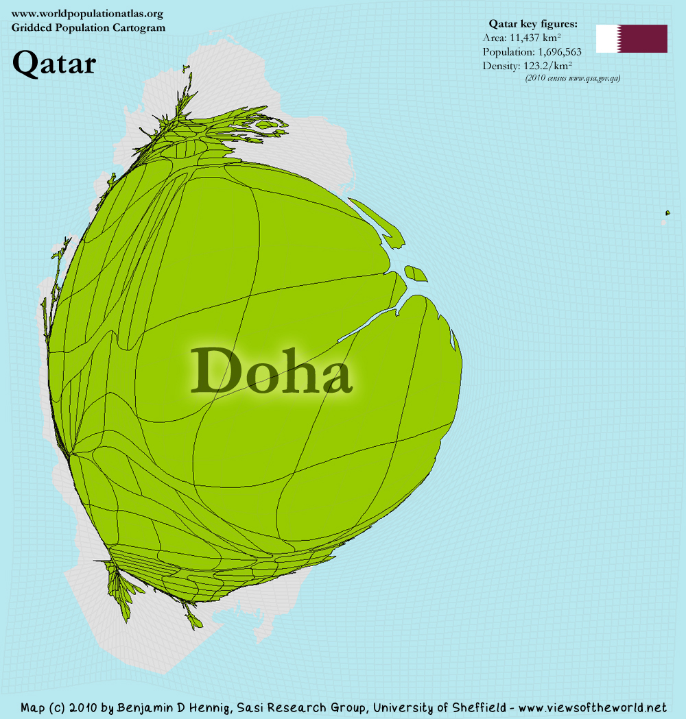 Qatar - A Potion Cartogram - Views of the World on nigeria in the world map, albania in the world map, paraguay in the world map, sweden in the world map, fiji in the world map, saudi arabia in the world map, mongolia in the world map, georgia in the world map, slovenia in the world map, estonia in the world map, north sea in the world map, west indies in the world map, argelia in the world map, dominican republic in the world map, east asia in the world map, abu dhabi in the world map, great britain in the world map, arctic ocean in the world map, united kingdom in the world map, all countries in the world map,
