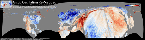 Temperature anomalies on the Northern Hemisphere in December 2010