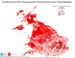 Map of Female Death from Cardiovascular Heart Disease in the United Kingdom