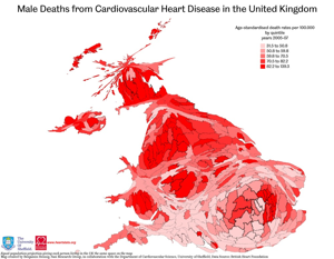 Map of Male Death from Cardiovascular Heart Disease in the United Kingdom