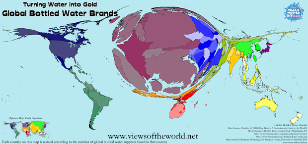 Cartogram / Map of the Global Bottled Water Producers and Brands