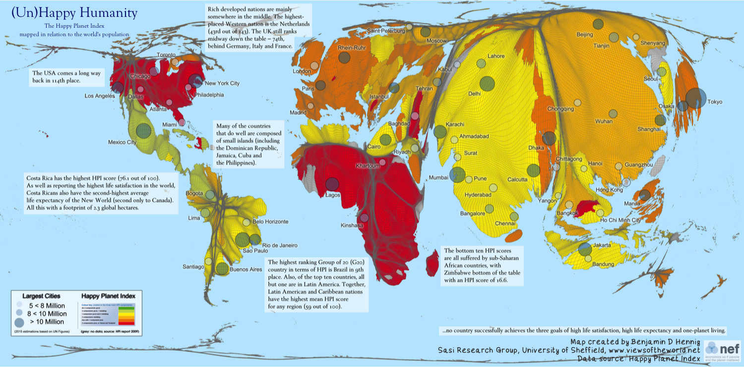 New map of the Happy Planet Index