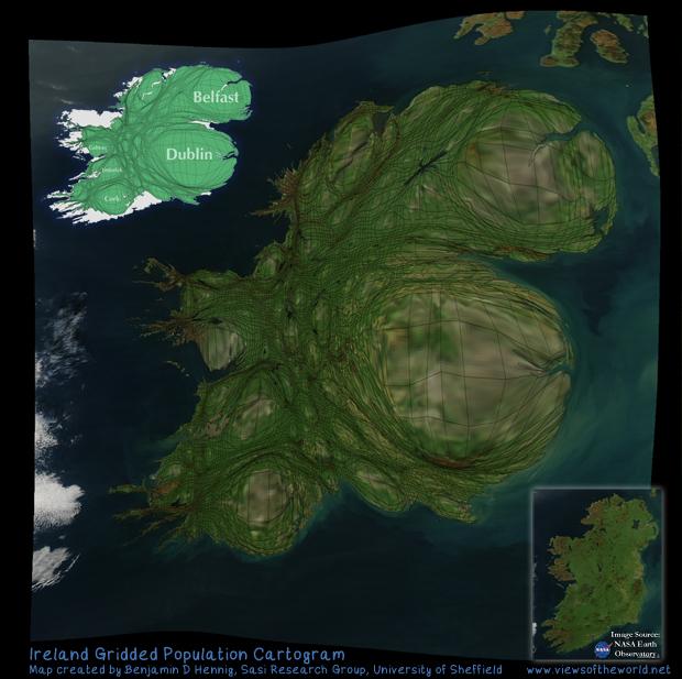 Population Map / Cartogram of Ireland