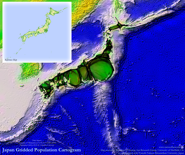 Population Map / Cartogram of Japan including Bathymetry and Topography