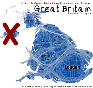 What is Great Britain - Mapped on a population cartogram
