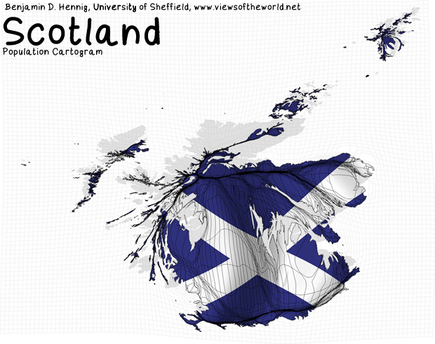 Population Map / Cartogram Scotland