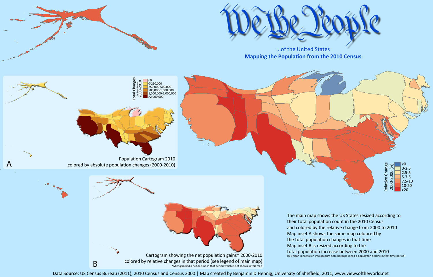 Counting The US Population Views Of The World - Map of us population change 2000