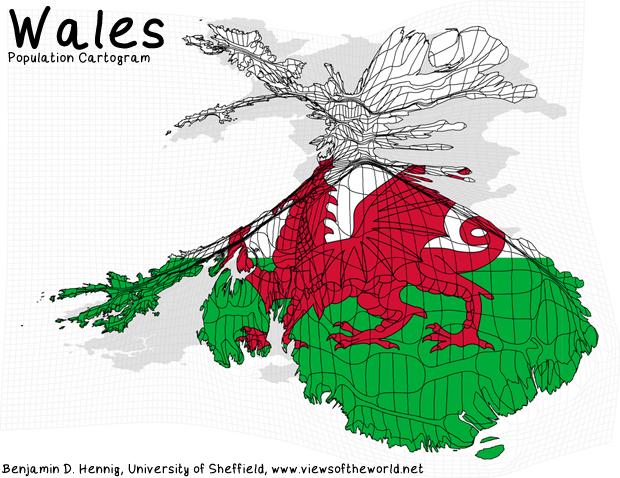 Population Map / Cartogram Wales