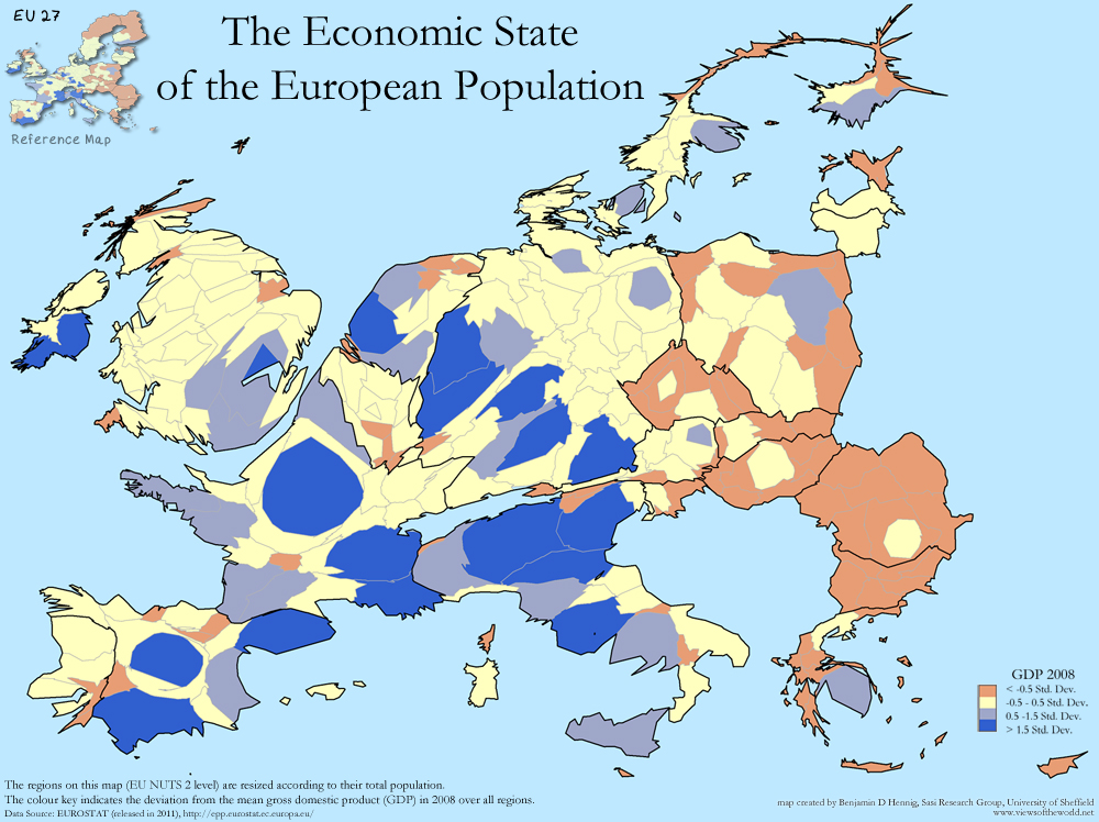 Map of the European Population and their GDP strengths on regional level