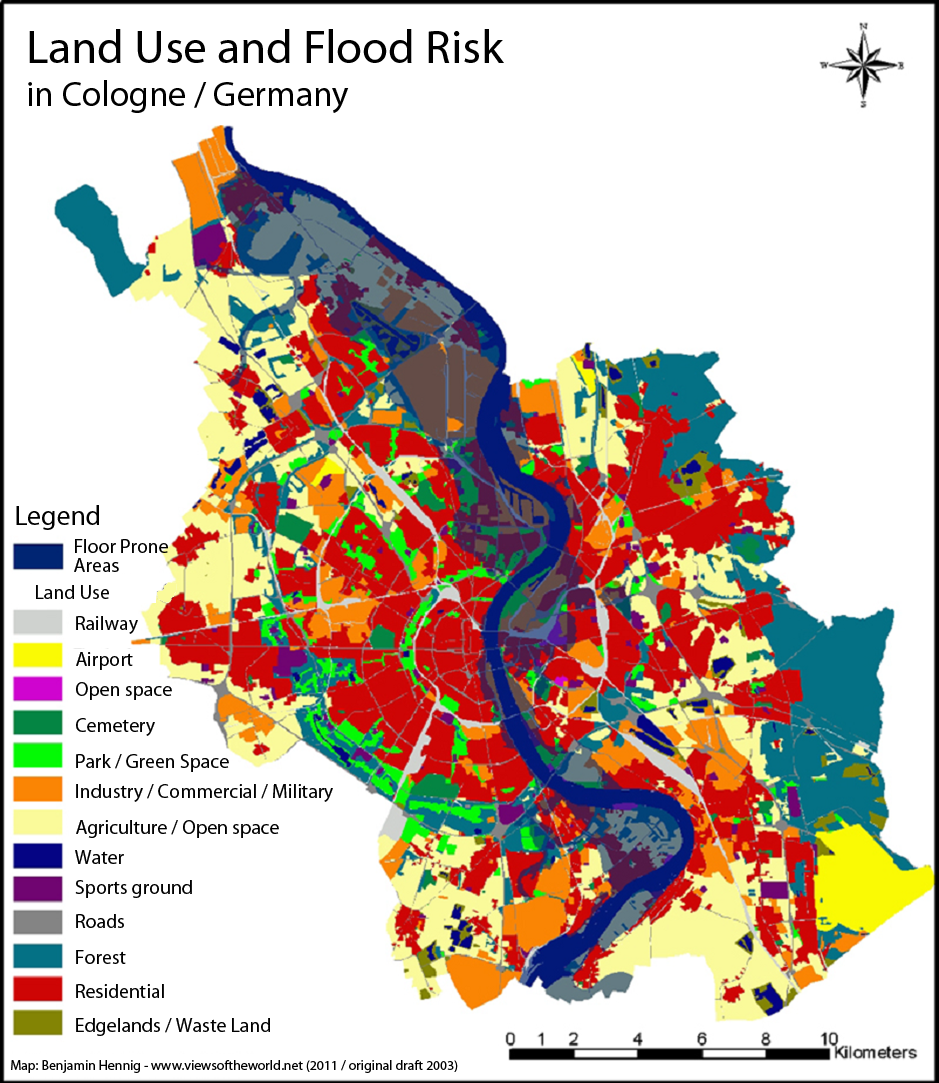 Map of the Land Use and Flood Risk in Cologne / Köln