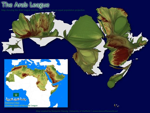 Population Cartogram of the Arab World